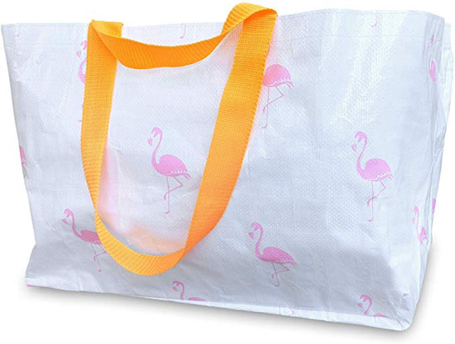 Reusable Tote Bag - White & Pink Flamingo