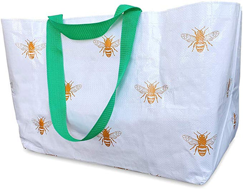 Reusable Tote Bag - White & Gold Bees