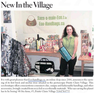 Eco-handbags.ca got a mention in this week's The Chronicle!