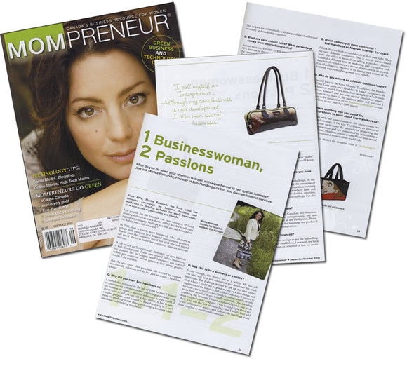 We have been featured in MOMpreneur's Green Business and Technology Issue