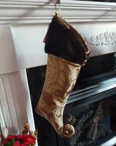 Christmas stocking made from reclaimed fur coats  - Dark Mink