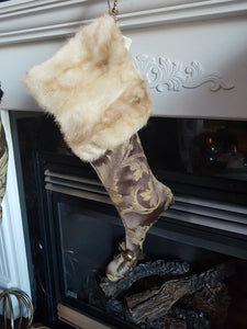 Christmas stocking made from reclaimed fur coats- Mink