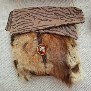 Cross-body bag made from upcycled fur & leather - Tan