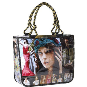 Large tote bag made from recycled fashion magazines