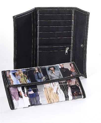 Snap wallet made from recycled fashion magazines