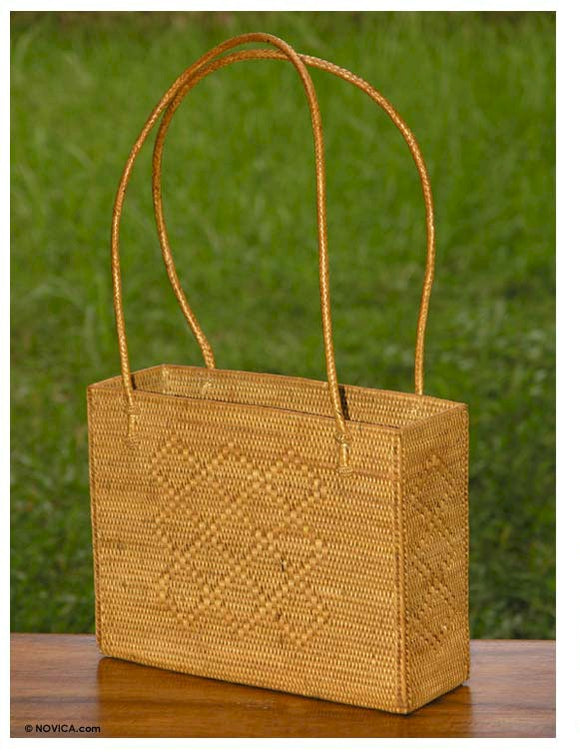 Ata grass handbag, Boxy Basket