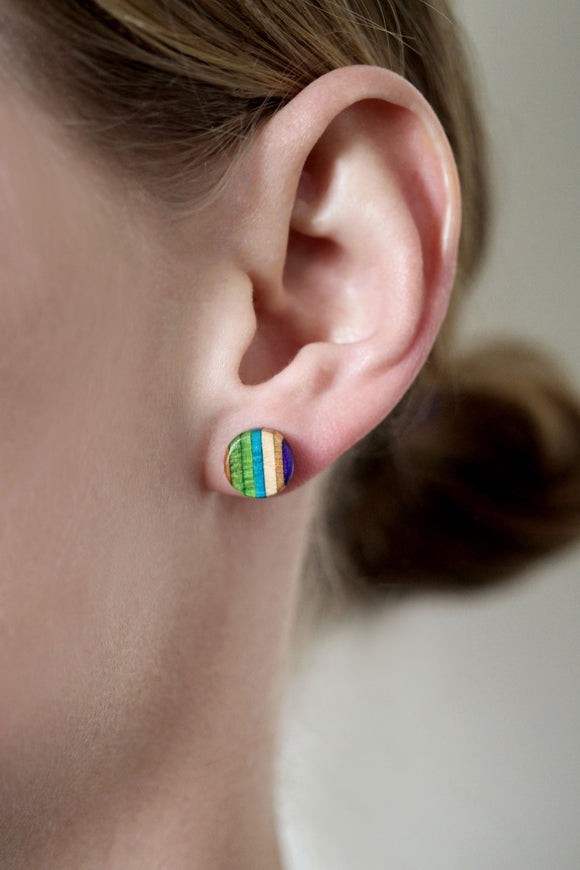 Stud Earrings made from repurposed skateboards
