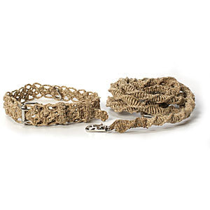 Twisted Hemp Dog Collar & Leash Natural