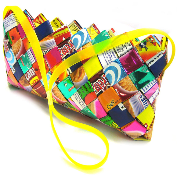 Pochette made from candy wrappers