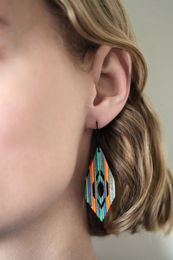 Nova Dangle Earrings made from repurposed skateboards