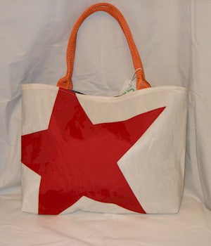 Red Star Middie Tote Bag made from recycled sailboat sails