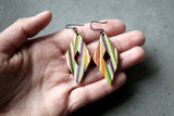 Rhombus Dangle Earrings made from repurposed skateboards