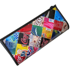 Large clutch bag made from recycled soda can squares
