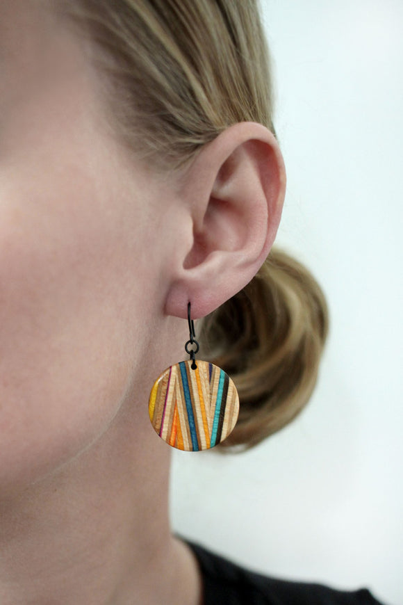 Zig Zag Dangle Earrings made from repurposed skateboards