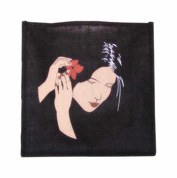 Jute Tote Bag - Black Hawaii