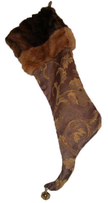 Christmas stocking made from reclaimed fur coats - Muskrat