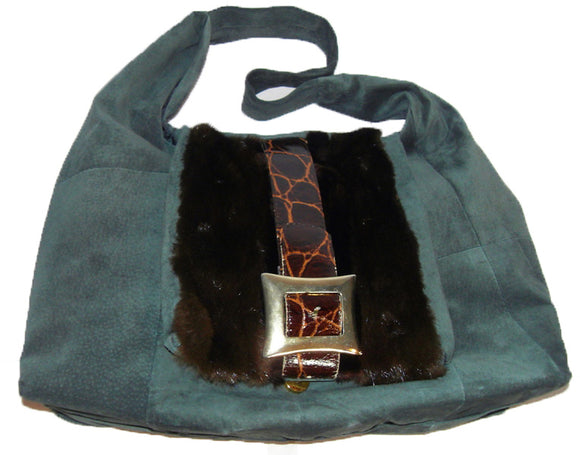Handbag made from upcycled fur - Forest Green