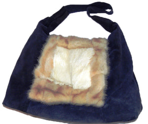 Handbag made from upcycled fur - Charcoal