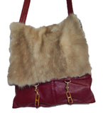 Cross-body bag made from upcycled fur & leather - Burgandy