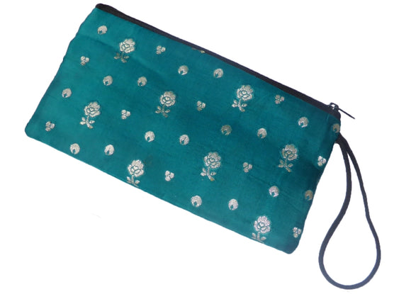 Makeup/Clutch bag made from recycled silk