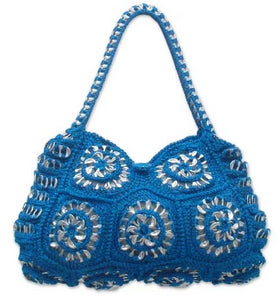 Soda pop-top handbag, Mandala Blue