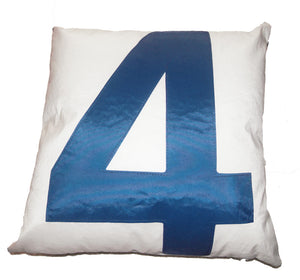 Blue 4 Pillow made from upcycled sail boat sails