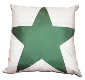 Green Star Pillow made from recycled sail boat sails