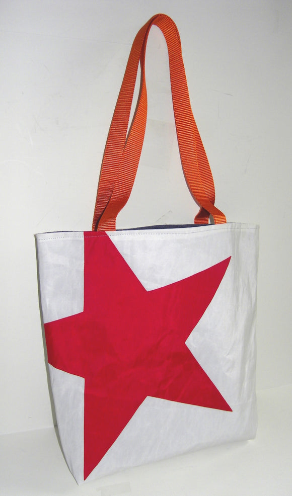 Red Star Tote Bag made from recycled sailboat sails