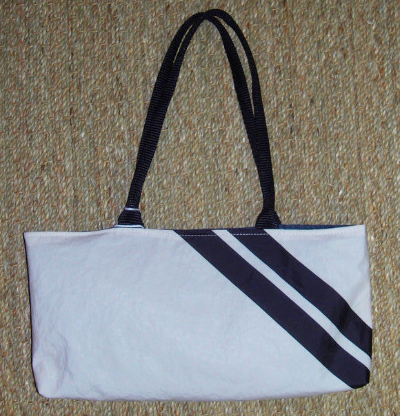 Stripped Shortie Bag made from recycled sailboat sails (options)
