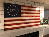Betsy Ross 1776 The Original American Wooden Charred Flag Red, White and Blue