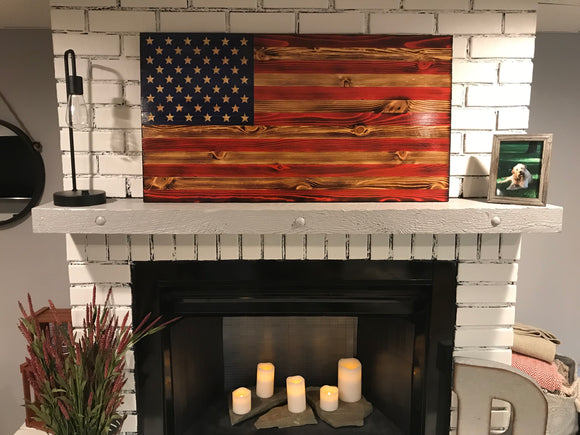 Special American Wooden Flag Coast Guard Emblem Charred Rustic Décor