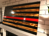 Thin Red Line Charred Wooden Flag, Rustic Thin Red Line, Red Lives Matter, Retired Firefighter, Firefighter Gift