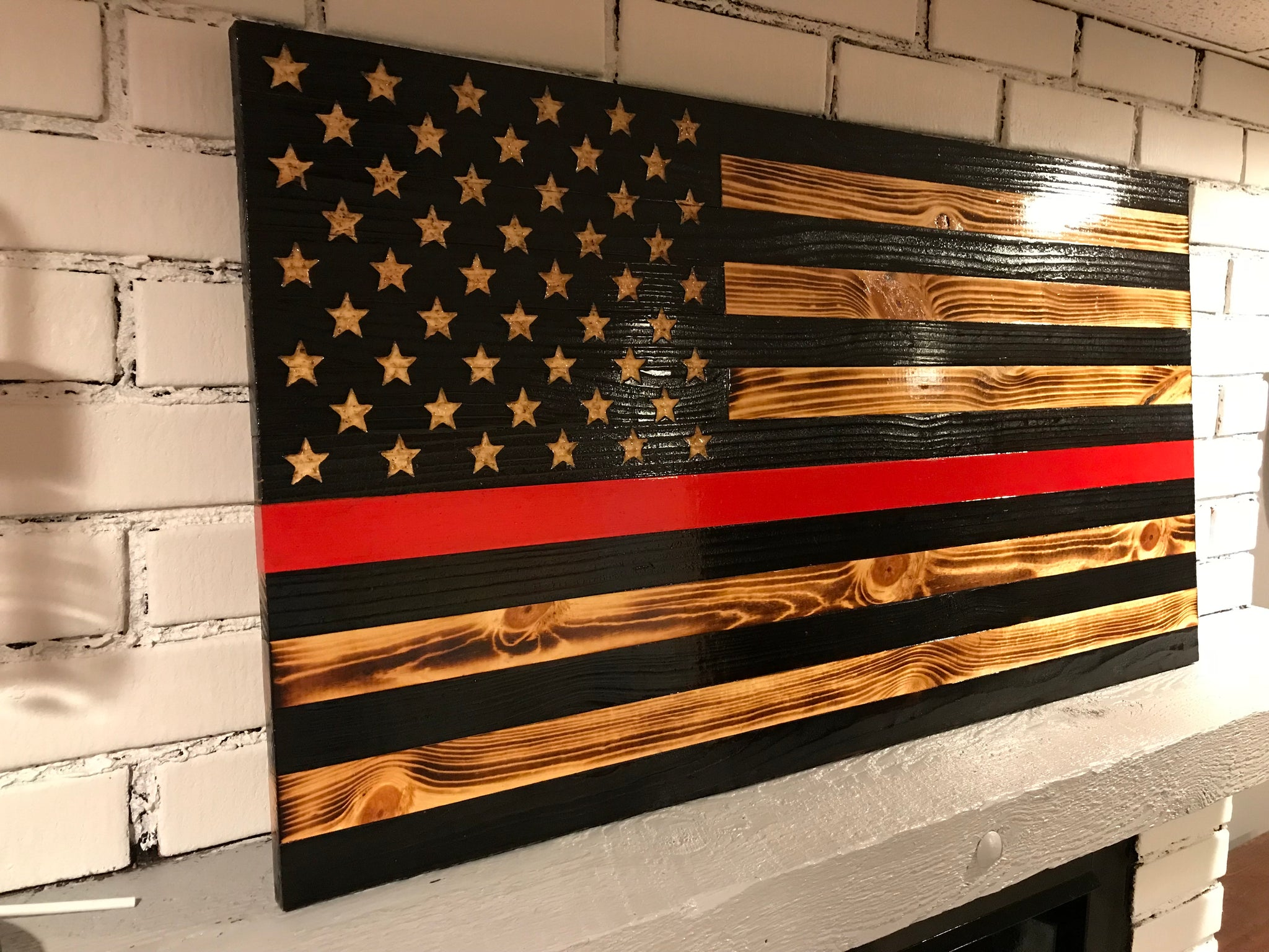 1 Thin Red Line American Wooden Rustic Charred Flag