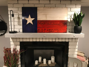 Texas Wooden Original Rustic Charred Flag