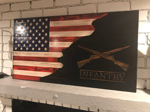 Charred Infantry American Wooden Flag, Red, White and Blue Rustic