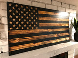 Rustic American Wooden Flag Charred Black Stripes