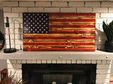 """We the People"" The Natural American Wooden Flag, Rustic Decor, Wood Flag, Handcrafted Rustic Flag, Veteran Made"