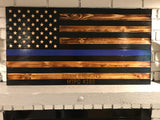 1/2 Thin Blue Line 1/2 Natural Flag with Air Force logo engraved