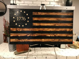 "Returned 26"" x 48"" The Rustic Charred 1776 flag"