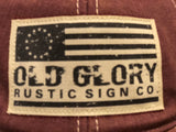 Old Trucker Hat with Old Glory Rustic Sign Co logo Red