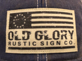 Old Trucker Hat with Old Glory Rustic Sign Co logo Blue