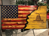 Matt P The Rustic Gadsden Charred Yellow, Wooden Gadsden Flag