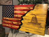 "Matt P Employee ""Lance""  Charred Yellow, Wooden Wiring Solutions logo Flag"