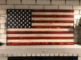 The Original Red, White and Blue Charred American Wooden Flag, Rustic Decor, Handcrafted
