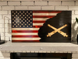 Charred Artillery American Wooden Flag, Red, White and Blue Rustic