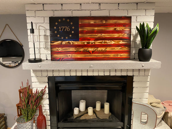 Betsy Ross 1776 The Natural American Wooden Charred We The People Flag
