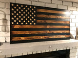 """We the People"" The Rustic American Wooden Flag Charred Black Stripes Subdued Flag"