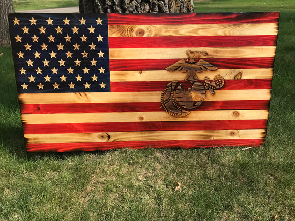 Special American Wooden Flag Marine Corps Emblem Charred Rustic Decor
