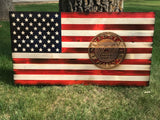 American Wooden Flag Navy Emblem Charred Rustic Decor