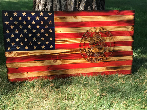 Matt P Special American Wooden Flag Army Emblem Charred Rustic Decor